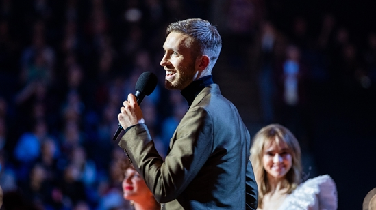 Calvin Harris accepting his BRIT Award