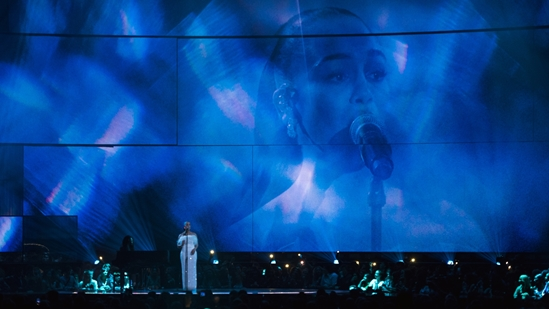 Jorja Smith performing at The BRITs 2019
