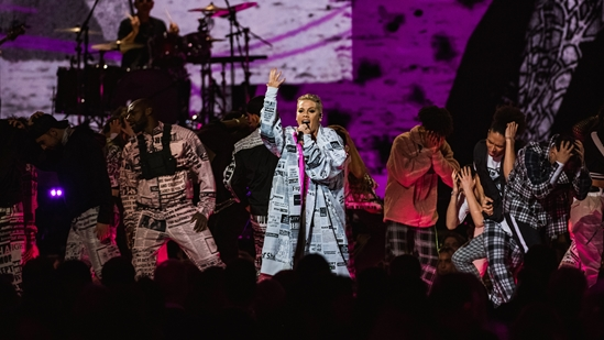 Pink performing at The BRITs 2019