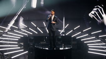 Calum Scott on stage at The BRITs 2017 Nominations Show