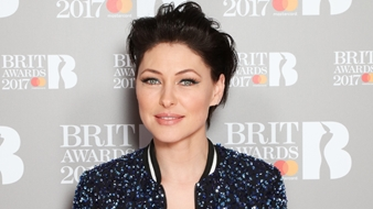 Emma Willis on The BRITs 2017 Nominations Show Red Carpet.