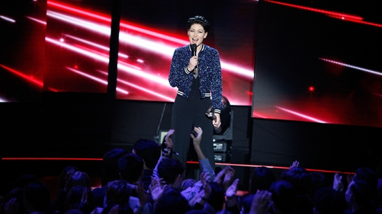 Emma Willis presenting the BRITs 2017 Nominations Show