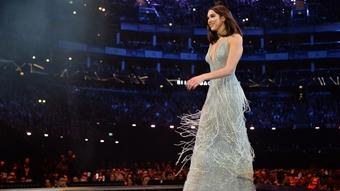 Dua Lipa accepting her award for British Female at The BRITs