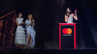 Dua Lipa accepting her award for British Female at The BRITs