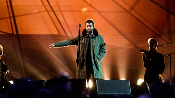 Liam Gallagher on stage at The BRITs 2018