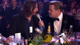 James Corden chats with Dave Grohl at the 2013 BRIT Awards