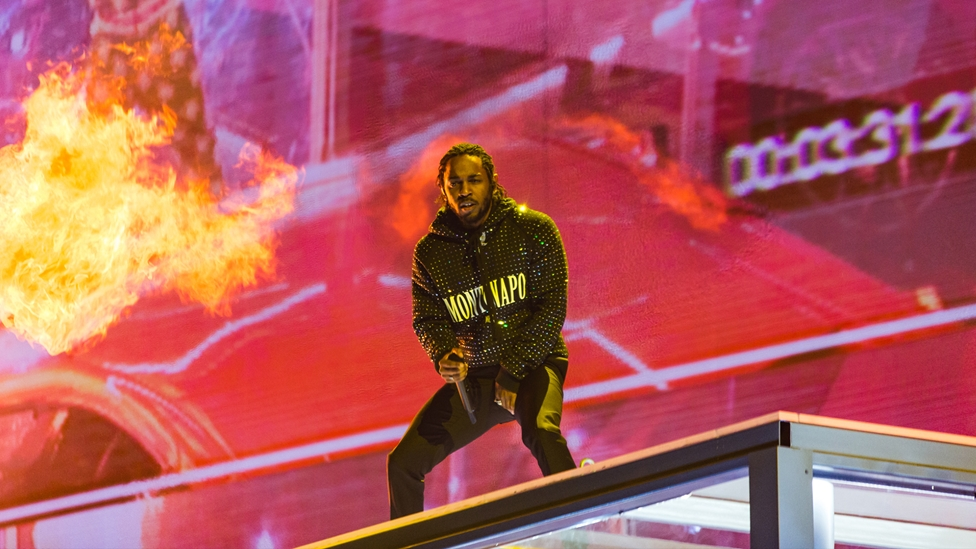 Kendrick Lamar on stage at The BRITs 2018
