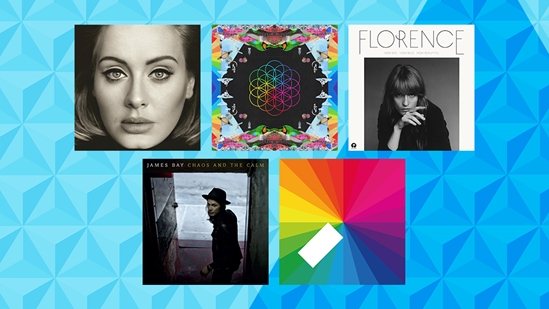 Adele - '25', Coldplay - 'A Head Full of Dreams', Florence + the Machine - 'How Big, How Blue, How Beautiful', James Bay - 'Chaos and the Calm' and Jamie xx - 'In Colour' are nominated for MasterCard British Album of the Year at the BRITs 2016