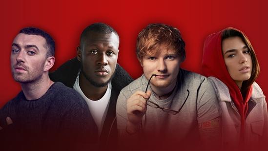 Sam Smith, Stormzy, Ed Sheeran and Dua Lipa