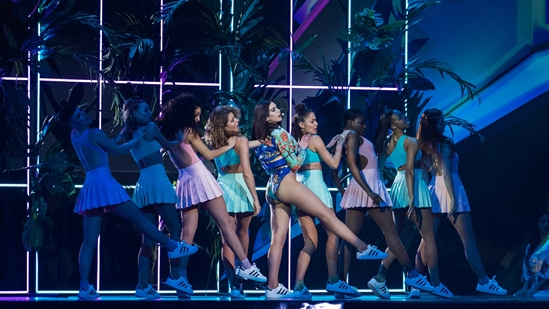 Dua Lipa on stage at The BRITs 2018