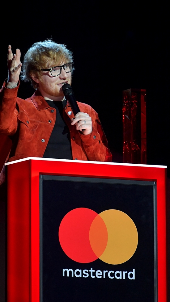 Ed Sheeran accepting his Global Success Award at The BRITs