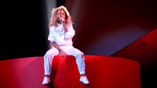 Rita Ora on stage at The BRITs 2018