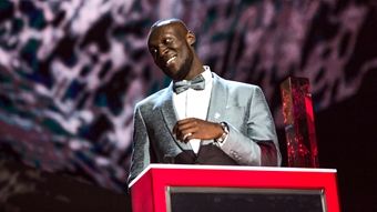 Stormzy accepting his award for British Male at The BRITs