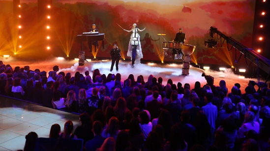 Clean Bandit on stage at The BRITs2018 Nominations Show