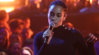 Jorja Smith on stage at The BRITs 2018 Nominations Show
