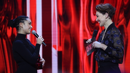 Emma Willis on stage with Jorja Smith at The BRITs2018 Nominations Show