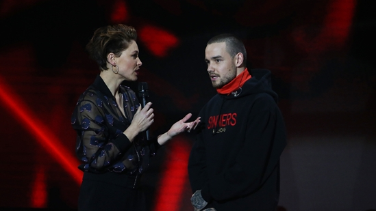Liam Payne with Emma Willis on stage at The BRITs 2018 Nominations Show