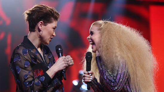 Emma Willis on stage with Paloma Faith at The BRITs2018 Nominations Show