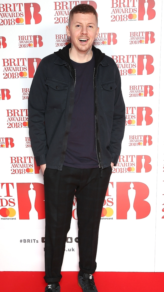 Professor Green on The BRITs2018 Nominations Show Red Carpet.
