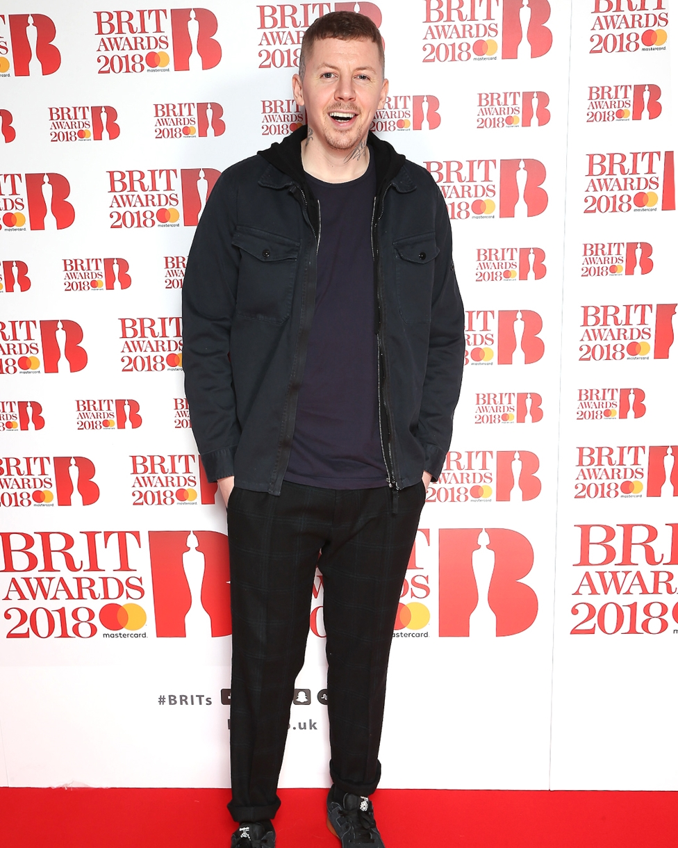 Professor Green on The BRITs 2018 Nominations Show Red Carpet.