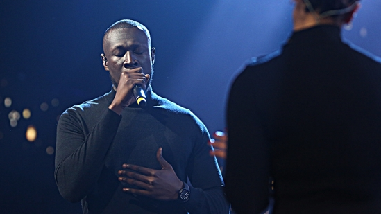 Stormzy on stage with Jorja Smith at The BRITs2018 Nominations Show