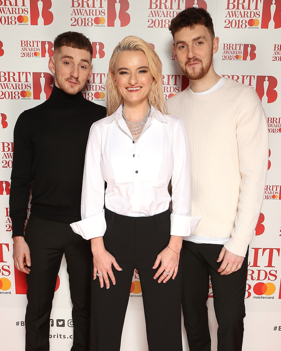 Clean Bandit on The BRITs 2018 Nominations Show Red Carpet.