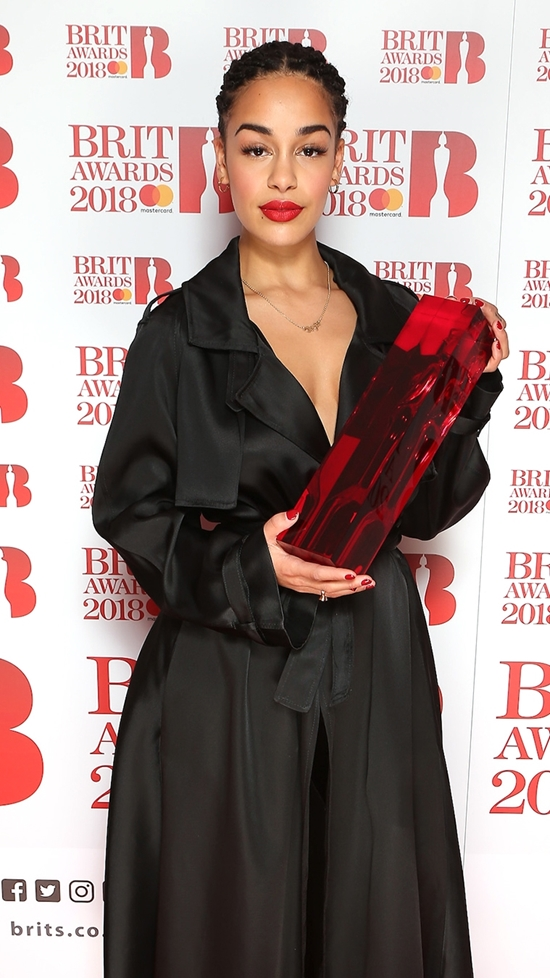 Jorja Smith on The BRITs 2018 Nominations Show Red Carpet.