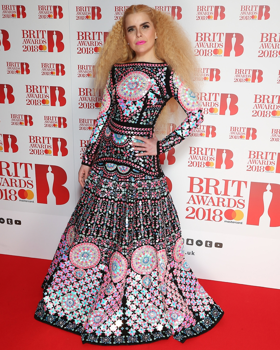 Paloma Faith on The BRITs 2018 Nominations Show Red Carpet.