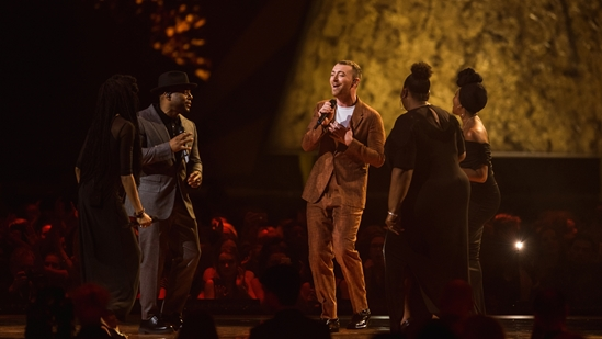 Sam Smith on stage at The BRITs 2018