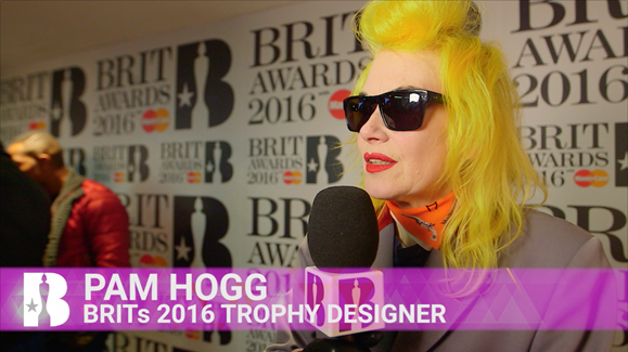 BRITs trophy designer, Pam Hogg on the Nominations Launch red carpet