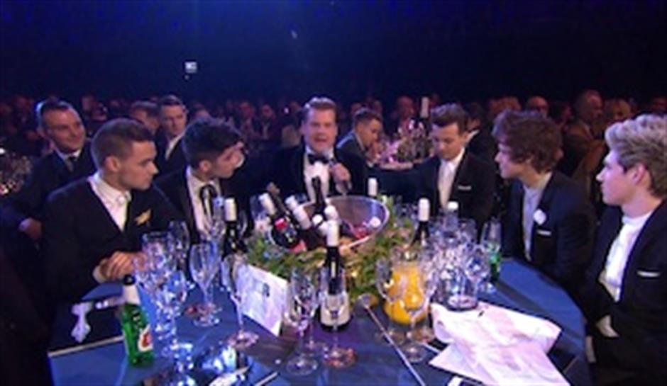 James Corden & One Direction at BRITs 2013