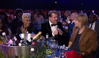 James Corden chats with Critics' Choice winners Tom Odell and Emeli Sande
