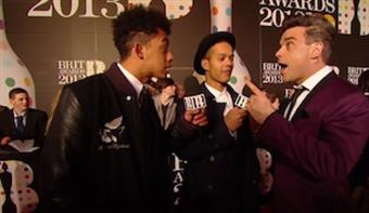 Rizzle Kicks talk to Robbie Williams on the Red Carpet